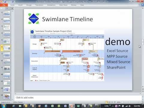 Swimlane Timeline Webcast April 2011 - part 2 of 7 (Excel Milestones and PowerPoint).wmv