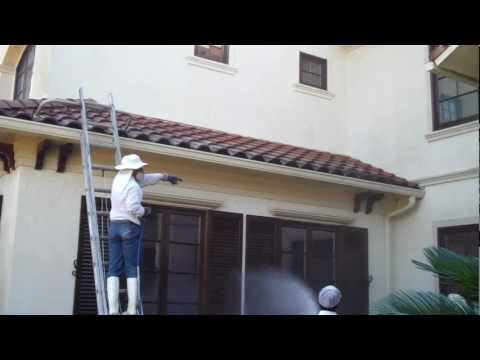 .Barrel Tile Roof Cleaning in the Royal Oaks Country Club subdivision in Houston Tx 77082
