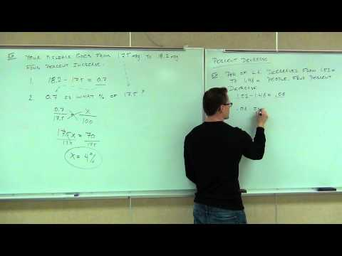 Prealgebra Lecture 7.4:  Finding Percent Increase and Percent Decrease