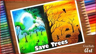 How To Draw Save Trees Save Water Save Earth Poster Drawing For Kids