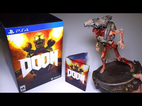 Unboxing DOOM Collector's Edition for PS4 - GIANT light-up Statue!