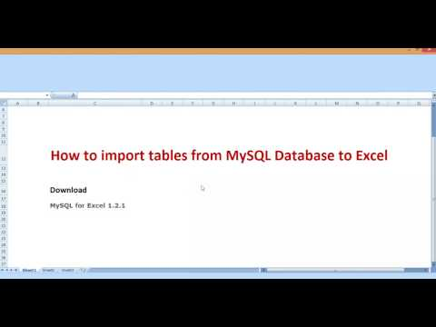 How to import tables from MySQL Database to Excel 2007