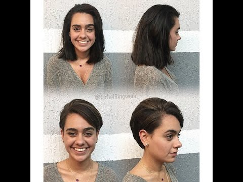 haircut on long dark hair to pixie cut