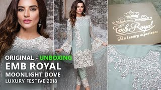 9bc856ea53 Embroyal Chiffon Collection 2018 - Unbox 01 Moonlight Dove - Pakistani  Branded Dresses