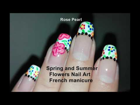 Spring Flower French Nail Art Tutorial: (No Tools) Cherry Blossom Accent Nail Design | Rose Pearl