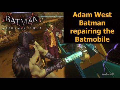 Batman Arkham Knight: Adam West Batman repairing the Batmobile