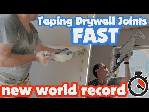 Taping Drywall Joints Fast with TapePro's Automatic Taper Mud Box