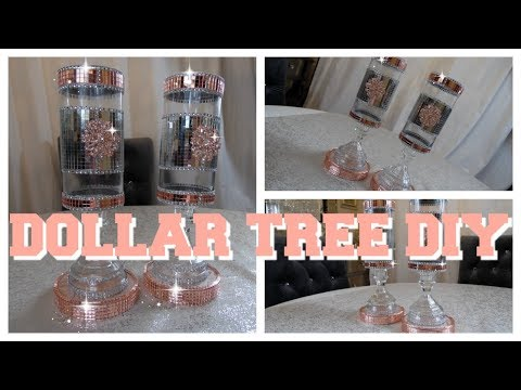 DIY -  DOLLAR TREE BLING AND ROSE GOLD VASE  PLUS GIVEAWAY