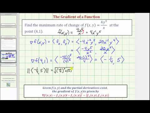 Ex: Use the Gradient to Find the Maximum Rate of Increase of f(x,y)=(4y^5)/x from a Point