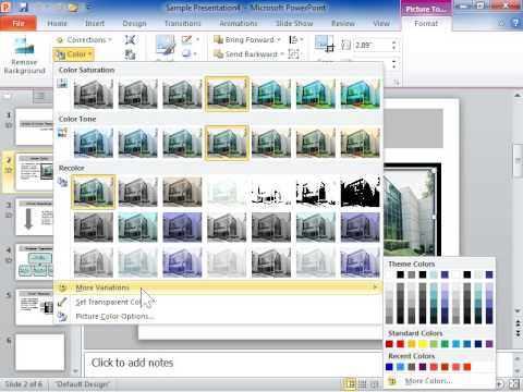 PowerPoint 2010 Change the Colors of a Picture