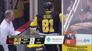 Hole in ice causes delay between Penguins and Bruins