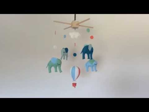 Flying Elephants - Handmade Baby Mobile