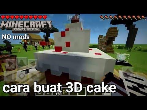 Cara membuat 3D cake di minecraftPE no mods!