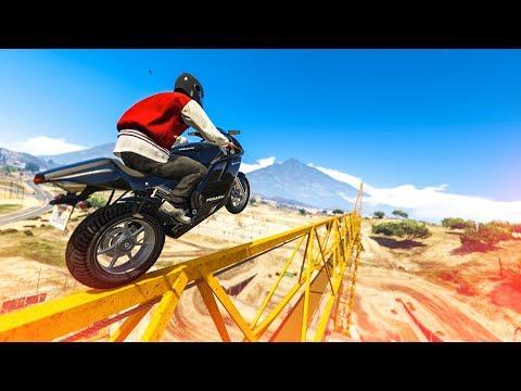 INSANE MOTORBIKE CRANE STUNT! - (GTA 5 Stunts & Fails)