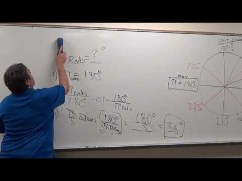 Convert pi/5 radians to equivalent angle in degrees using unit circle?