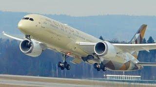[FullHD] Etihad Boeing 787-9 Dreamliner takeoff at Zurich/ZRH/LSZH