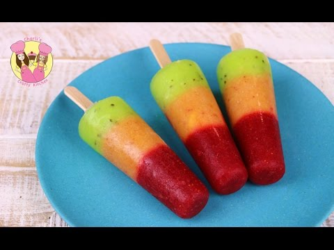 TRAFFIC LIGHT POPSICLE - Ice lolly - healthy kids frozen fruit ice block pop with strawberry