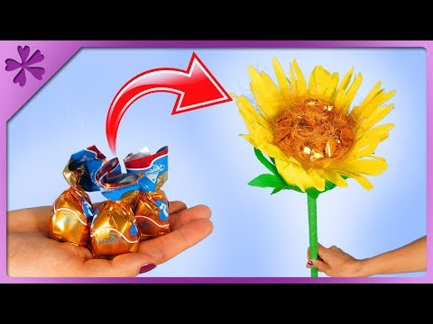 DIY How to make sunflower out of candies and tissue paper (ENG Subtitles) - Speed up #486