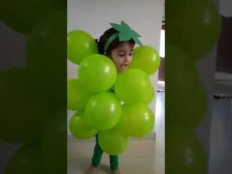 Grapes grapes hurray/Fancy dress/rhymes/five lines on grapes/fruit day/how to make grape/DIY