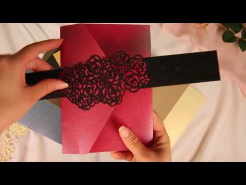 wedding invitation of different colors and matching belly band