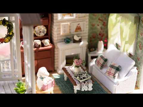 DIY Miniature Dollhouse Kit - Happy Times with light!