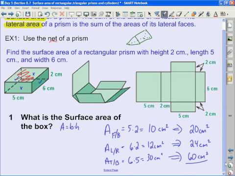 Day 5 Section 8 7  Surface area of rectangular,triangular prisms and cylinders