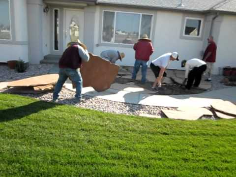 Installing a flagstone patio Flagstone patio remodel Part 2