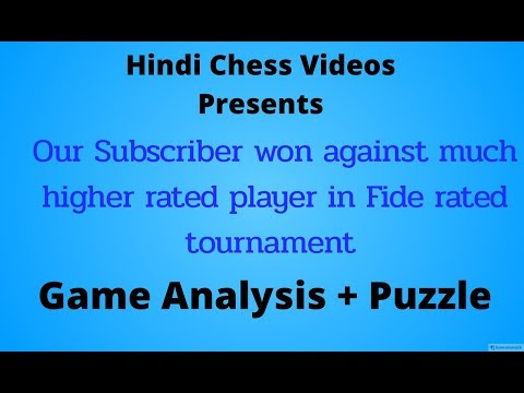 One of Our Subscriber won against much higher rated player (Fide Rated Tournament)+ Puzzle
