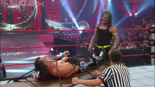 Jeff Hardy ties Matt Hardy to a table for a leg drop: Backlash 2009