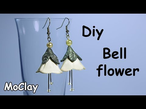 DIY earrings - White campanula flower - Polymer clay tutorial