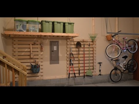 DIY Garage Organization - Wood Rail wall unit