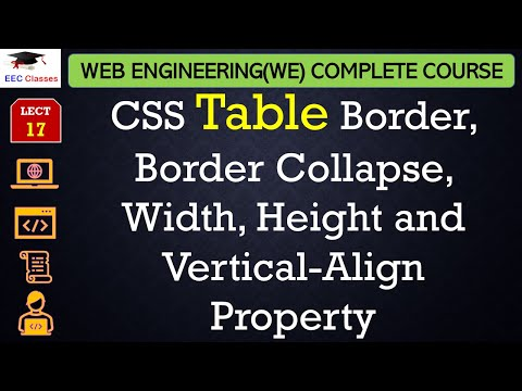 CSS Lecture 8 - Table Border, Border Collapse, Width, Height and Vertical-Align Property