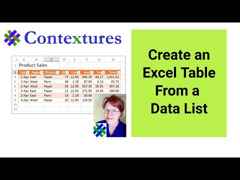 How to Create an Excel Table From a Data List