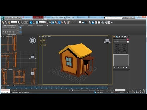 Modeling cartoon low poly house. Work in progress