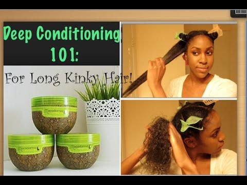 NATURAL HAIR| Deep Conditioning Long KINKY-CURLY Hair !
