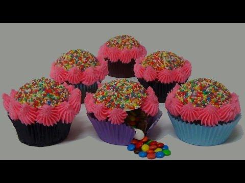 how to make rainbow pinata dome cupcakes
