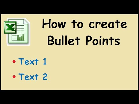 How to create bullet points in excel 2010