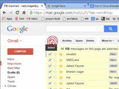 How to move all emails to folder in gmail