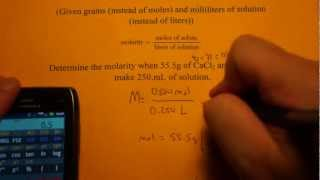 Calculating Molarity Given Grams And Ml