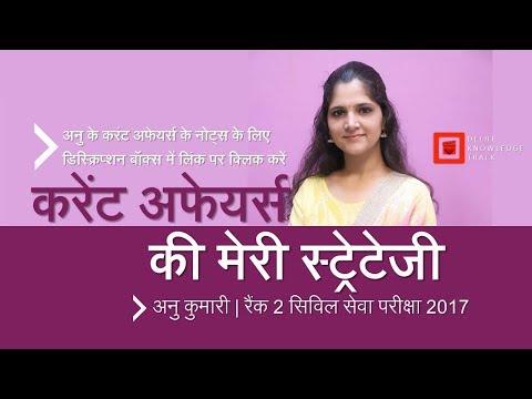 In Hindi | Current Affairs for UPSC Civil Services | By Anu Kumari | AIR 2 - CSE 2017