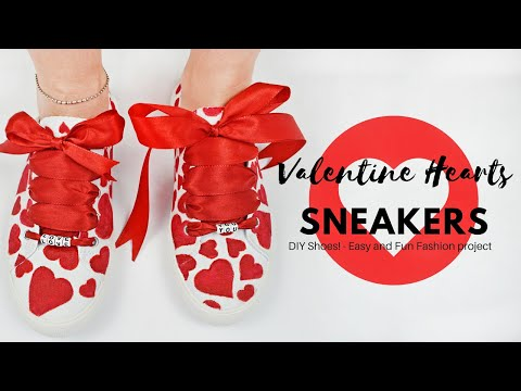 DIY Shoes! - How to Make cute Valentine Hearts Sneakers - Easy Fashion Tutorial