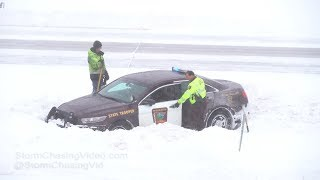 Download Wright County, MN Winter Storm Crashes and State Trooper in Ditch - 2/7/2019 Video