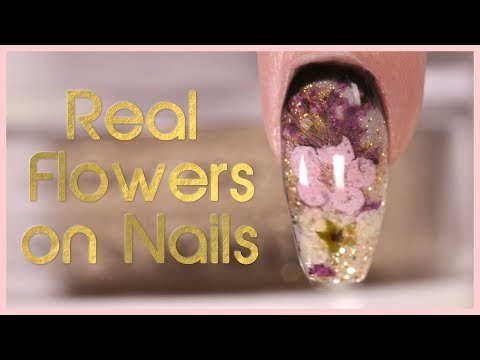 How to Encapsulate Dried Flowers with Dip Powder Nail Art Tutorial