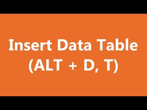 Excel Shortcuts - Insert Data Table