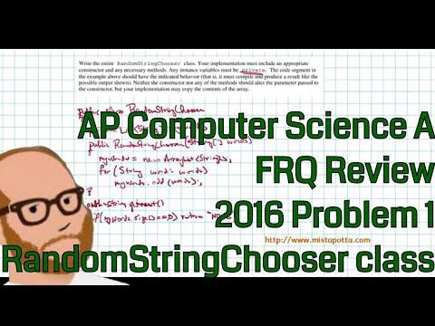 Computer Science A 2016 FRQ Problem 1