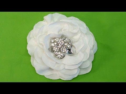 DIY Easy Fabric Flower, One strip of Fabric,  Tutorial, DIY