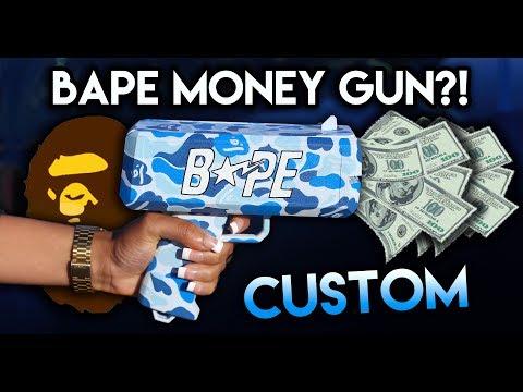 MAKING THE FIRST EVER CUSTOM HAND PAINTED BAPE MONEY GUN !!
