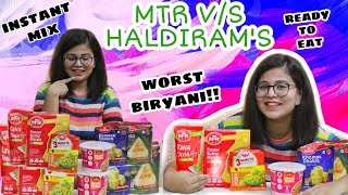 I ATE EVERYTHING FROM MTR v/s HALDIRAM'S READY TO EAT FOOD |WORTH IT OR NOT? | BRIYANI, PANEER, DOSA