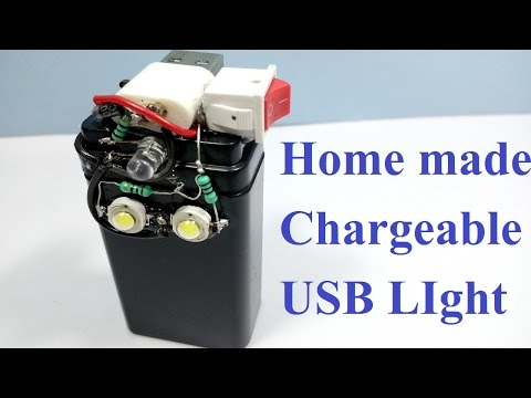 How to make Rechargeable USB LED Emergency light || LED flash light home made ||