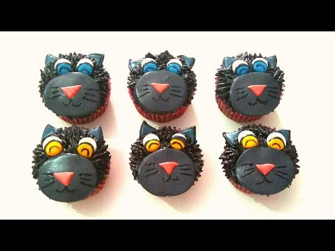 How to make CAT cupcakes. Kitty cupcakes. Cupcakes for Halloween